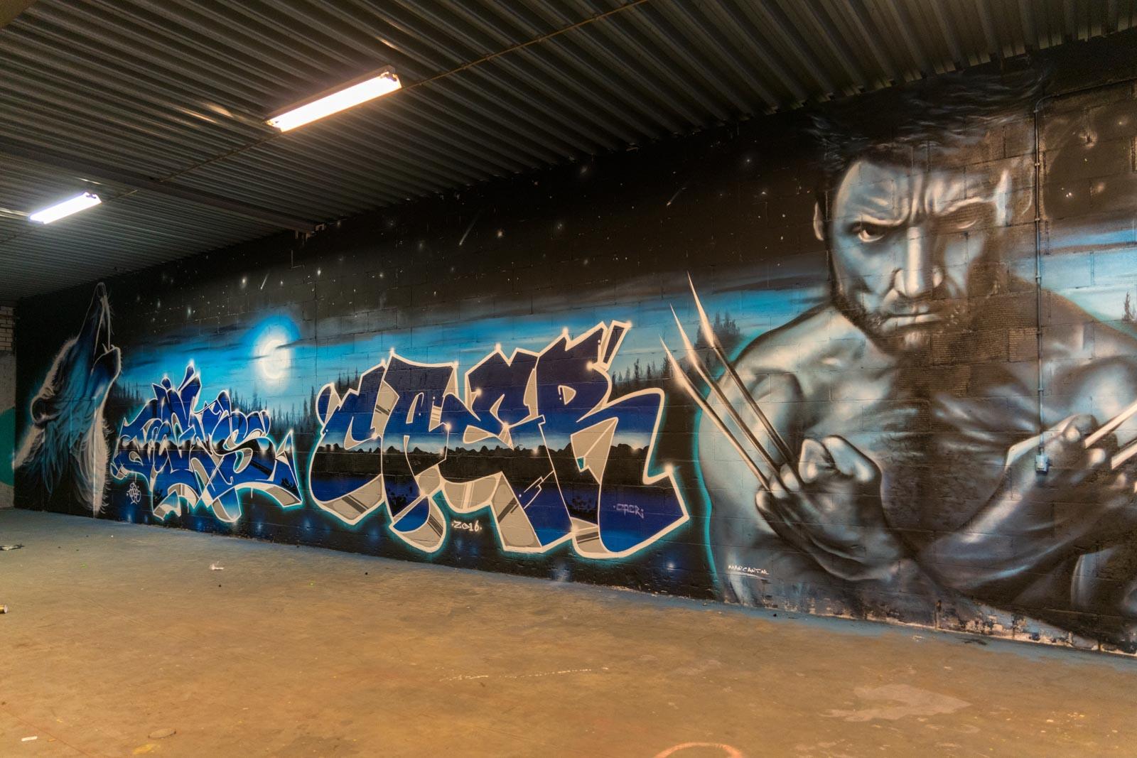 Graffiti kunstwerk met als thema Wolverine van The Combi Killers